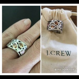J Crew Colorful Gemstone Statement Ring in Silver